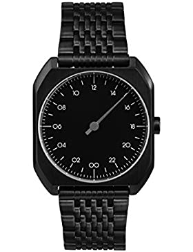 slow MO 03 – alle schwarz Stahl Unisex Quarzuhr mit schwarzem Zifferblatt Analog-Anzeige und schwarz Edelstahl...