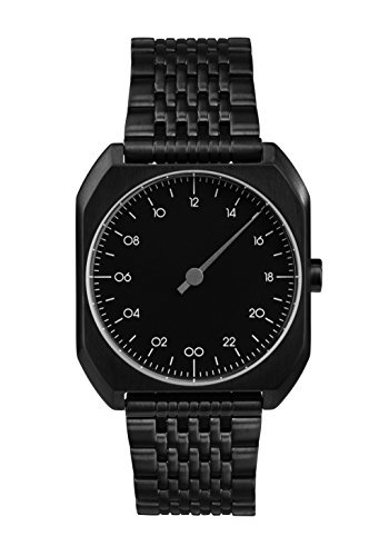 slow MO 03 – alle schwarz Stahl Unisex Quarzuhr mit schwarzem Zifferblatt Analog-Anzeige und schwarz Edelstahl vergoldet Armband