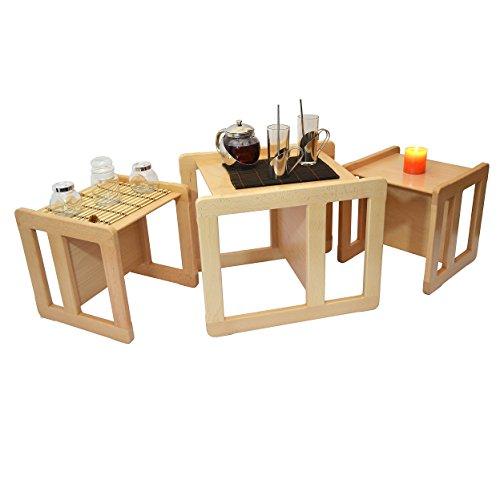 Tris Tavolini Da Caffè Multifunzionali 3 In 1 O Set 3 Pezzi Mobili Multifunzionali Per Bambini, Due Sedie O Tavolini Piccoli E Una Sedia O Tavolino Grande Multifunzionali In Faggio Lacca Chiaro