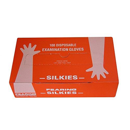 Fearing Silkies lange Einweg-Handschuhe, 100 Stück (100er-Packung) (Hellbraun)