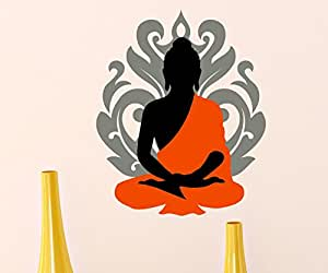 Asian Paints Wall-Ons Orange Buddha Wall Sticker (PVC Vinyl, 0.01 cm x 76.2 cm x 30.48 cm, Multicolour)
