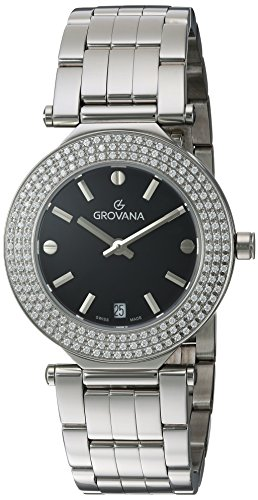 GROVANA-50797137-Womens-Quartz-Swiss-Watch-with-Black-Dial-Analogue-Display-and-Silver-Stainless-Steel-Bracelet