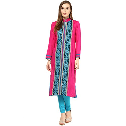 Kurti's Women /Girls Kurtis/Kurti for Girls/Casual Kurti/FormalKurti/Stylish Kurti/Kurta/In 3/4 sleeve Embroidered rowan kurtis Pink