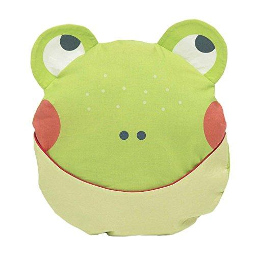 Julica Design Kuschelkissen Kinder | Frosch in Grün | Dekokissen Kinderzimmer | Schmusekissen mit Tasche im Maul
