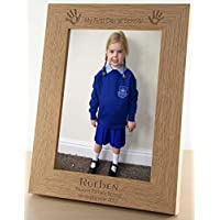 "My First Day Of School Personalised Wooden Picture Photo Frame 7x5"" back to school gifts Keepsake PRESENT for FAMILY Him Her Gift Kids Gift - FREE ENGRAVING - L1082"