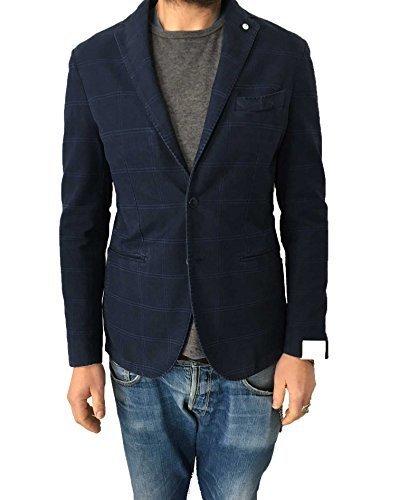 L.B.M 1911 giacca uomo finestrato blu 100% cotone vestibilità slim