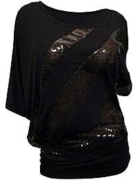 KIMODO T Shirt Blusen Top Damen Pailletten 3XL Freizeithemd Schwarz Rot  Damen Bekleidung Mode 2019 02f4c33911