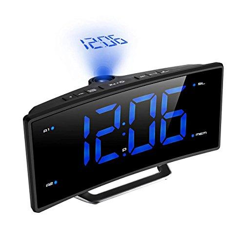 MUTANG Reloj Despertador de proyección Reloj Digital con Puerto de Carga USB y Radio FM, Función de repetición LED Atenuador de Pantalla Temporizador de suspensión