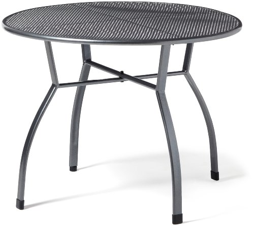 greemotion Table de jardin ronde Toulouse de 100 cm de diamètre – Table ronde grise en acier – Table extérieure pour 4 personnes - Table à manger design – Table moderne inoxydable