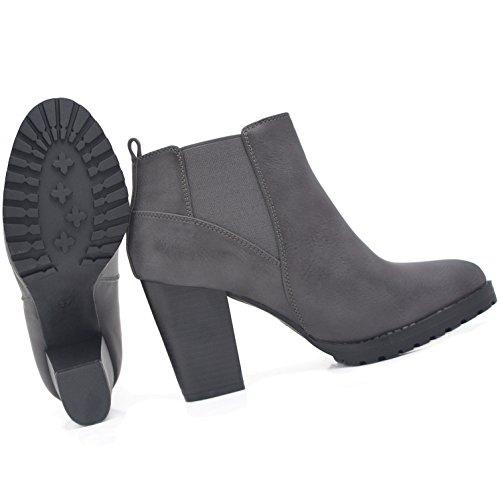 E Kayla Boots Pu Ankle Botas Sapatos Ou Único Com Em © Vendas Cinza Preto Perfil q6qtwWrPnS
