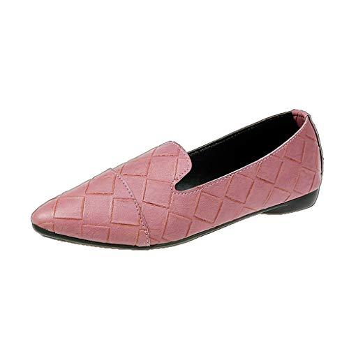 DOLDOA Sommerturnschuhe,Frauen Schuhe Elegante Low Heels Slip Spitz Flache Ferse Casual Jobs Schuhe (39 EU, Rosa)