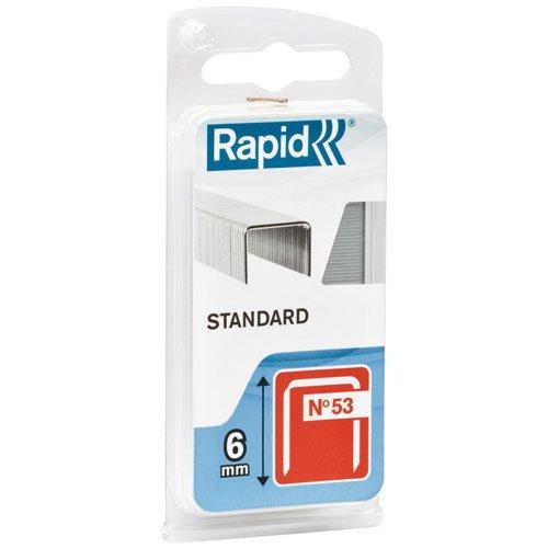 Rapid, 40109502, Agrafes en fil fin N°53, Longueur 6mm, 1080 pièces, Pour le textile et la décoration, Fil galvanisé, Haute performance