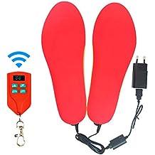 J-Jinpei Beheizbare Einlegesohlen Fußwärmer Beheizbare Thermosohle Kit mit Fernbedienung Schalter Drahtlose Wiederaufladbare batteriebetriebene Heizung Größe 4-15 (35-46), 1-Pair