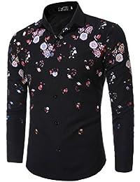 WanYang WanYang Camisas Hombre De Marca Manga Larga De Moda Flores Casual Delgado Estilo Camisas De Vestido