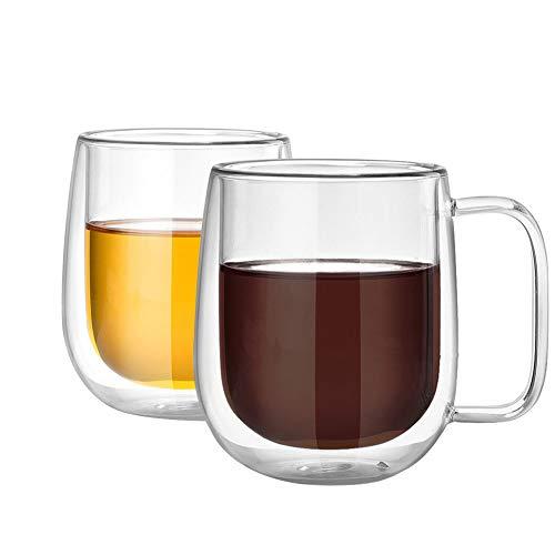 Danolt Doppelwandige Glasbecher, 250ml Handgemachtes hitzebeständiges Transparentem Borosilicatglas mit Griff für heiße/kalte Getränke, Kaffee, Tee, Milch, Saft, Bier