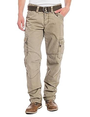 Timezone Herren Straight Leg Hose BenitoTZ cargo pants incl. belt, Gr. W33/L32, Beige (dirty sand 6166)