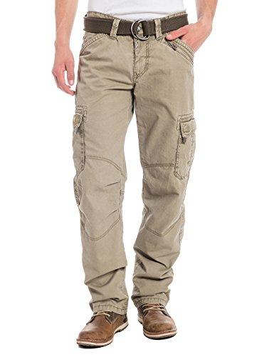Timezone Herren Straight Leg Hose BenitoTZ cargo pants incl. belt, Gr. W36/L32, Beige (dirty sand 6166)