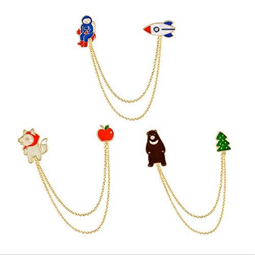 Set di spilla di smalto di fumetto di novità 3pcs set little astronaut plane bear serie pin spilla con catena spilla set per abiti borse zaini giacche distintivi per adulti ragazzi ragazze regali di