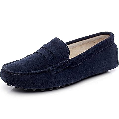 Shenn Women's Comfort Slip-on Navy Suede Loafer Flats UK5