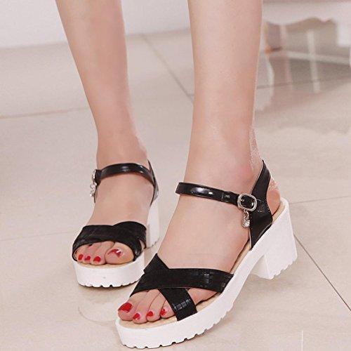 DM&Y 2017 Fr¨¹hling und Sommer arbeiten koreanische Version des gro?en Frauen Schuhe mit hohen Abs?tzen. Fischkopf Sandalen Black