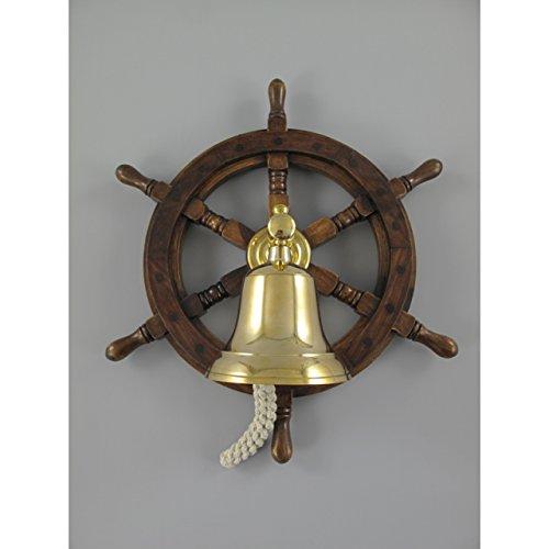 Maritimes Schiff-Steuerrad mit Glocke aus Messing Schiffssteuerrad Schiffsglocke