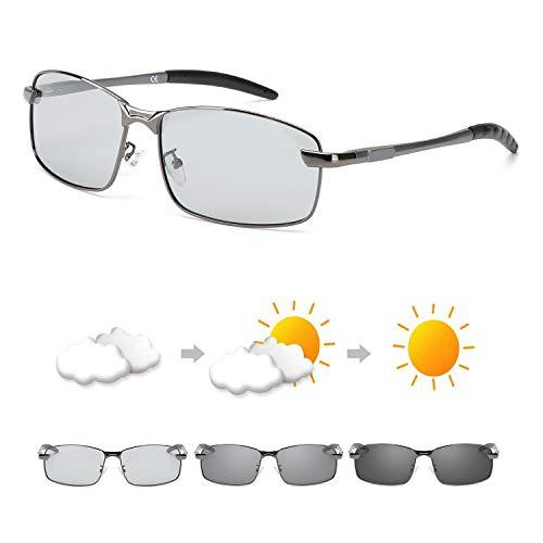 OSVAW Herren Photochromatisch Rechteckig Sonnenbrille Polarisiert Selbsttönend Brille Metallrahmen Anti Reflexbeschichtung für Autofahren Laufen Radfahren Angeln Golf 100% UVA UVB Schutz Hoch