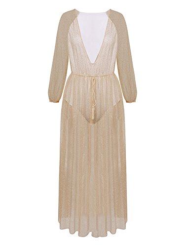 Vestito Lungo Elegante Donna Abiti Da Sera Vestiti Da Cerimonia Manica Lunga Profondo Collo V Oro