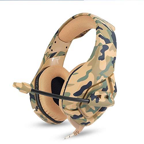 Logitech Wireless Music System (TING Gaming-Headset für PS4 Xbox One PC-Kopfhörer mit Mikrofon LED-Geräuschunterdrückung über Ohr Kompatibel mit Nintendo-Schalter Spiele Laptop Mac (Camouflage 2-Farben) (Farbe : Beige))