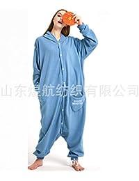 SALICEHB Blauer Sesam-Fleece-Cartoon Einteiliger Pyjama-Tierkostüme Home Service