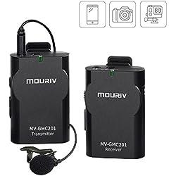 Newest mouriv mv-gmc201Universal inalámbrico Lavalier micrófono Mic con tiempo real monitor para cámara réflex digital, videocámara, iOS smartphone tablet GoPro