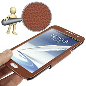 Spherical Texture Ultrathin Magnetic Horizontal Flip Full Housing Protector Leather Case with Holder for Samsung Galaxy Note 2 N7100 (Coffee)(Coffee)