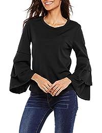 Meaneor Camiseta Mujer Manga Larga Volante Camisa Cuello Redondo Blusa Elegante
