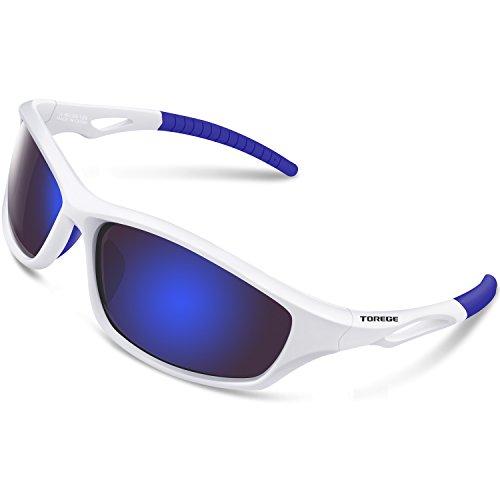 Torege Polarisierte Sport-Sonnenbrille für Männer Frauen Radfahren Laufen Angeln Golf TR90 unzerbrechlich Rahmen TR010, Weiß/Blau ...