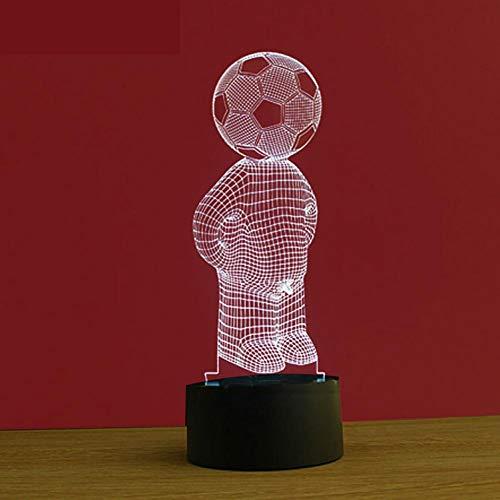 Wallfia Futbolista 3D Ilusión óptica Lámpara LED Luz de noche,7 Colores Cambio de Botón Táctil y Cable USB,Mejor regalo de navidad[Clase de eficiencia energética A]