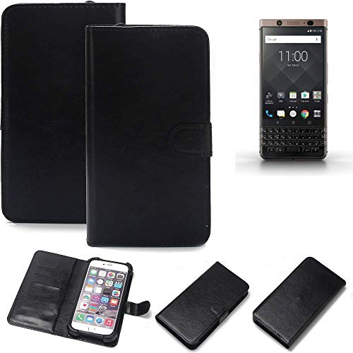 K-S-Trade Wallet Case Handyhülle BlackBerry KEYone Bronze Edition Schutz Hülle Smartphone Flip Cover Flipstyle Tasche Schutzhülle Flipcover Slim Bumper schwarz, 1x