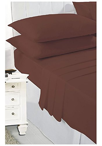 Islander Fashions Plain PollyCotton Wohnung Bettw�sche Bettw�sche und Kissenbez�ge Single Double King Sch�ne Bettw�sche Bl�tter Schokolade Double
