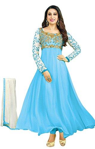 Women\'s Georgette Anarkali Salawar Suit (Free Size_SKY BLUE)