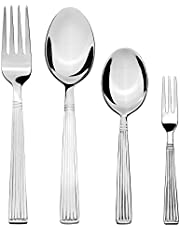 Amazon Brand - Solimo 24 Piece Stainless Steel Cutlery Set, Stripes (Contains: 6 Table Spoons, 6 Tea Spoons, 6 Forks, 6 Fruit Forks)