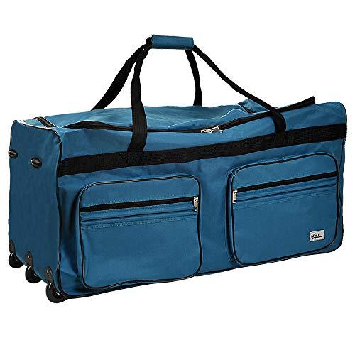 Borsone Trolley Blu petrolio formato XXL Borsa da viaggio con manico telescopico estraibile 3 ruote 5 piedini di appoggio Dimensioni 85 x 43 x 44 cm Capacità 160 litri