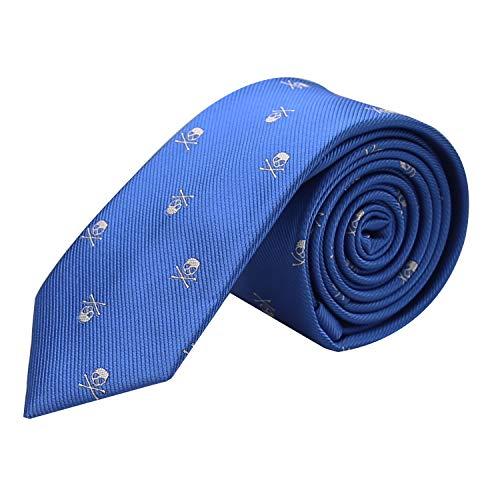 Alizeal Calavera-Corbata Estrecha para Hombre (Azul Klein)
