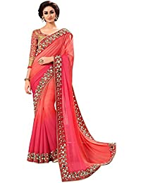 Tagline Women's Faux Georgette Saree With Blouse Piece (Tag20020 ,Orange,Free Size)