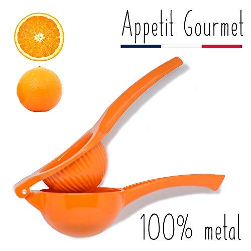 Orangenpresse Appetit Gourmet ® - manuelle Zitruspresse 2 in 1, unzerbrechlich aus Aluminium - Gerät für das Auspressen von Orangen, Grapefruits und großen Zitrusfrüchten - 100{45216913840c23120e0bb81d882b371be6086d2669459e2d22ced41a5e5541d6} Saft ohne Kerne