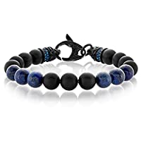 "Crucible Jewelry Mens Black Matte Onyx and Lapis Lazuli Bead Stainless Steel Bracelet (10mm Wide) - 8.5"", Blue/Black, One Size"