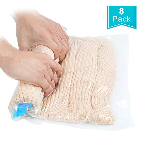 Qliver 8tlg. Set Reise Vakuumbeutel zum Rollen 8 Stück Vakuum Aufbewahrungbeutel für Reise , Kleidung, Decken, Handtücher|Reise vakuum Kleiderbeutel|keine 3 verschiedene Größen|transparent