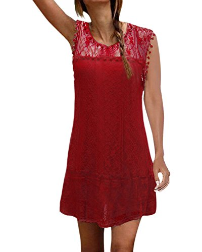 ZANZEA Femme Robe Elegante en Dentelle Bodycon Crayon Mini Robe de Soiree Parti Cocktail Tunique, Bordeaux, 48 EU