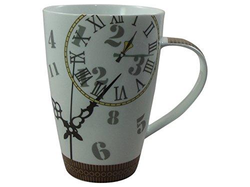 Cha Cult großer Becher Design - Ben - Tasse aus Porzellan mit 0,5L Fassungsvermögen und rafiniertem Uhrendesign