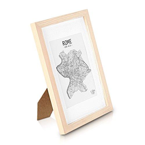 Echtholz Bilderrahmen A4 - Holz Natur - 21 x 29,7  - mit Passepartout für ein 15x20 Bild - DIN A4 Bilderrahmen mit Echtglas - Unlackierter Echtholzrahmen für Zertifikate und Urkunden - Rahmenbreite 2cm!