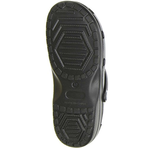 ConWay Damen Herren Clogs Pantoletten schwarz Schwarz