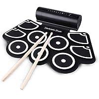 LQH Electronic Drum - Kit de 9 almohadillas sensibles con 7A varillas, pedales, batería recargable, adaptador, cable auxiliar