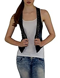 S&LU angesagte kurze Damen-Jeansweste mit Nieten in verwaschener Used-Optik 34 - 42